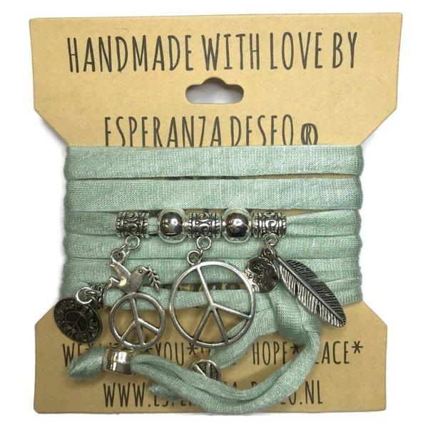 Esperanza Deseo Wikkelarmband Vintage mint met zilveren Peace teken