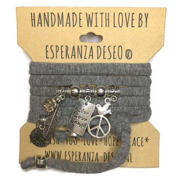 Esperanza Deseo Wikkelarmband grijs met zilveren live, love, laugh