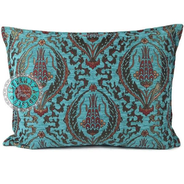 Esperanza Deseo Kussen Abstract flowers turquoise 70x50