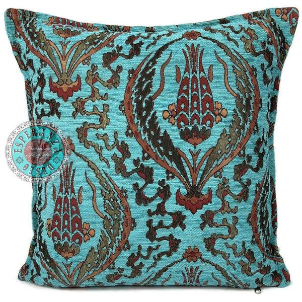 Esperanza Deseo Kussen Abstract flowers turquoise 45x45