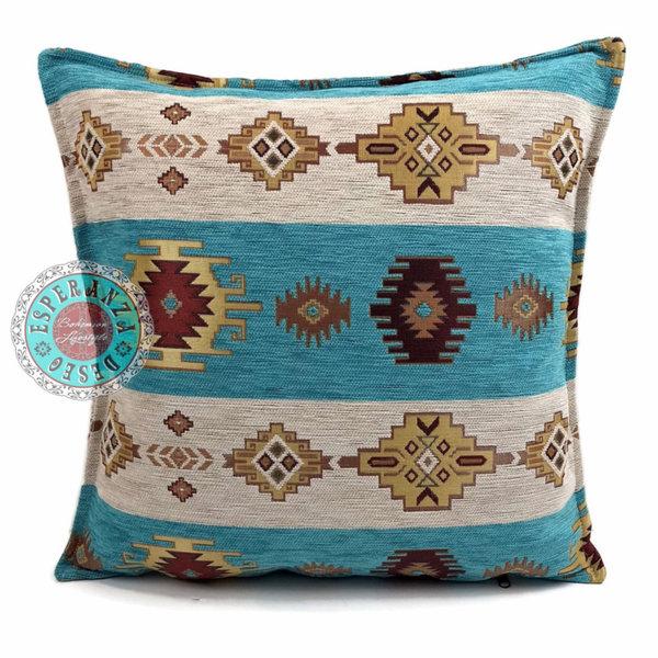 Esperanza Deseo Kussen Aztec wit en turquoise 45x45