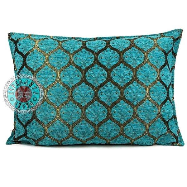 Esperanza Deseo Kussen Honingraat Turquoise bronskleurig 50x70