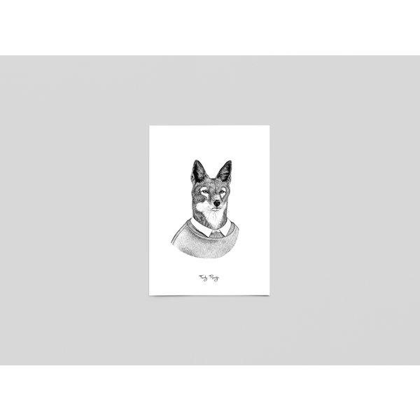 Ferdy Remijn Postkaart Blijf schuldig, Ethiopische wolf - Ferdy Remijn