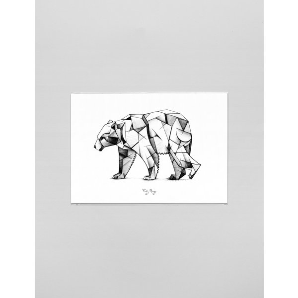 Ferdy Remijn A3 Art print Kubism ijsbeer - Ferdy Remijn