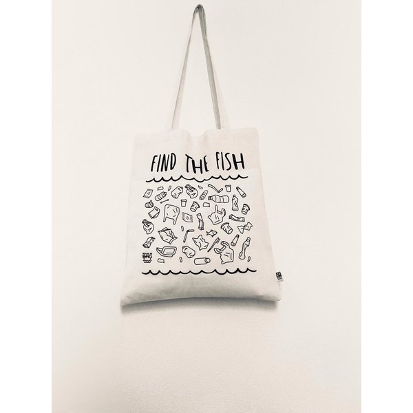 HoudjeBag Tote bag - Find the fish – wit
