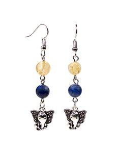 Oorbellen lapis lazuli/rutielkwarts met ganesha