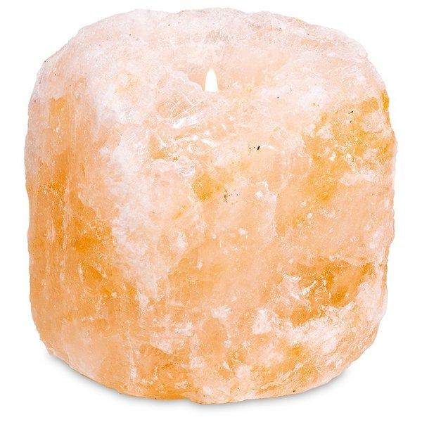 Zoutkristal Sfeerlicht 1 waxine lichtje roze/oranje - 800-1200gr