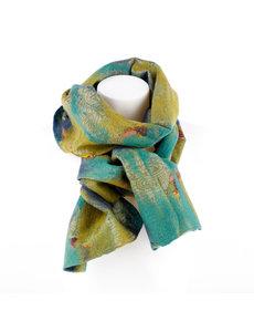 Sjaal met Verhaal Viltsjaal Blauw Groen