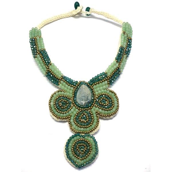 Sjaal met Verhaal Sjaal met verhaal - halsketting piece of art - goud-groen
