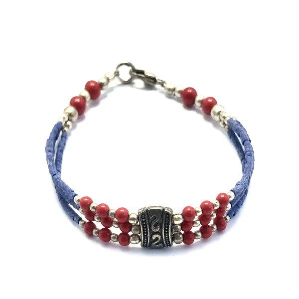 Sjaal met Verhaal Armband met bedel blauw-rood