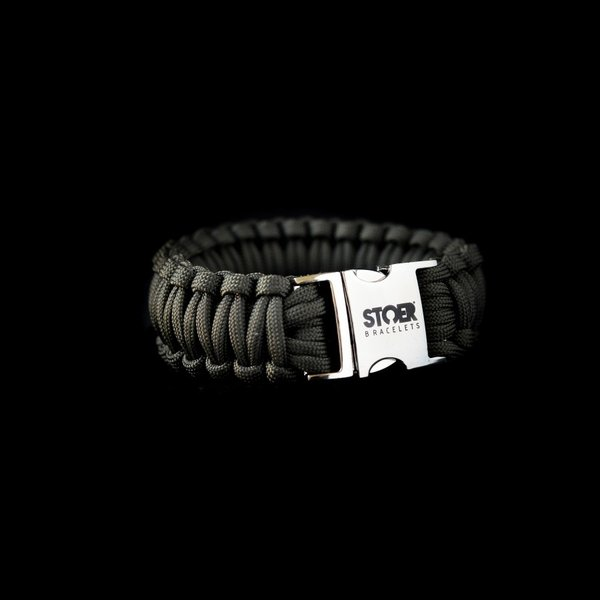Stoer Armbanden STOER Paracord armband Olive cobra XL