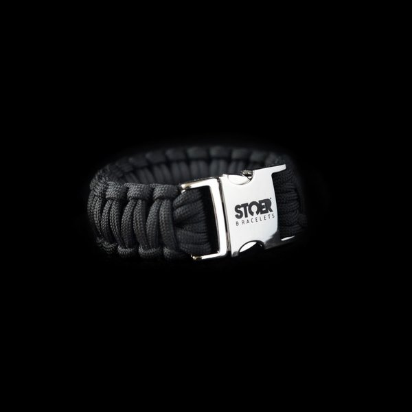 Stoer Armbanden STOER Paracord armband Zwart Cobra XL