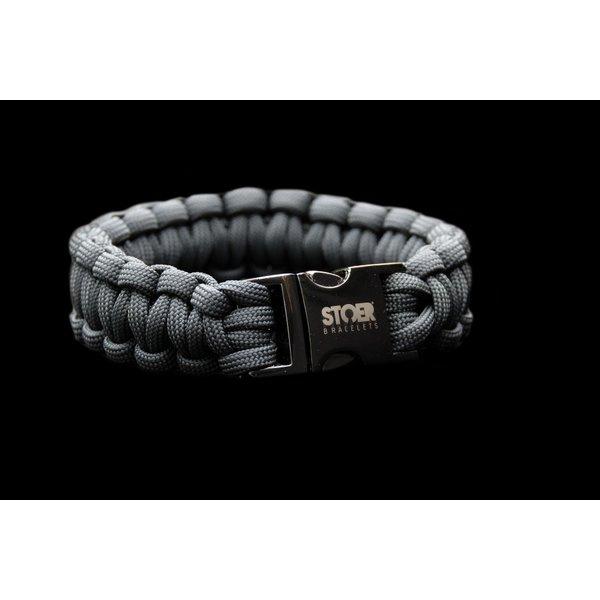Stoer Armbanden STOER Paracord armband black antraciet cobra