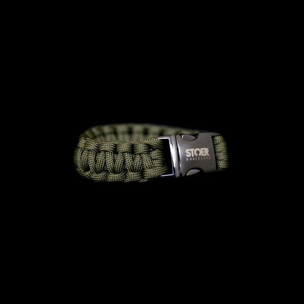 Stoer Armbanden STOER Paracord armband black olive cobra