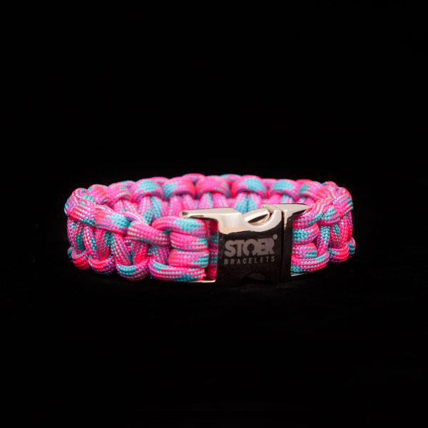 Stoer Armbanden STOER Paracord armband Roze-neon Turquoise