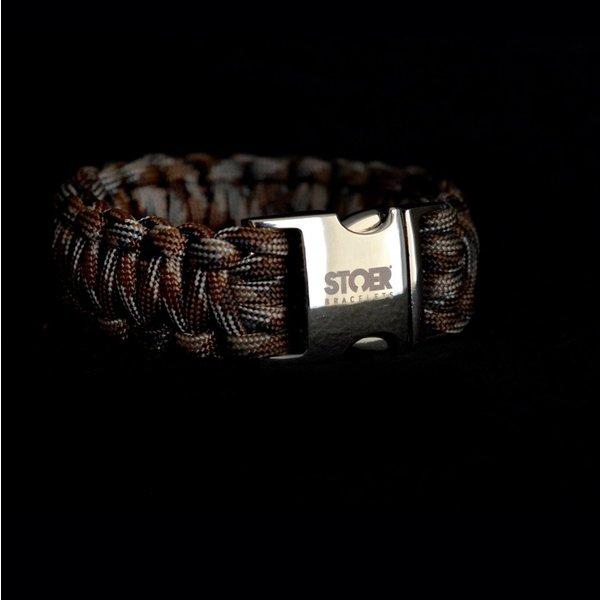 Stoer Armbanden STOER Paracord armband Camo Brown