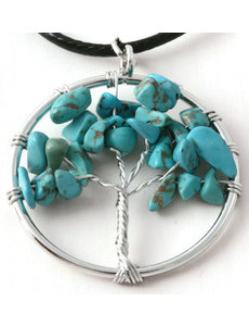 Ketting Tree of life turquoise small
