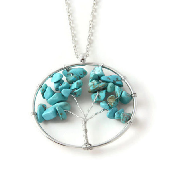 Ketting Tree of life turquoise