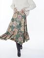 Meisie Meisïe - lange rok flowerprint groen