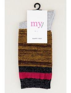 My Jewellery My Jewellery - Gestreepte sokken met glitters (grijs/bruin/zwart)