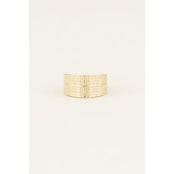 My Jewellery My Jewellery Brede ring met patroon