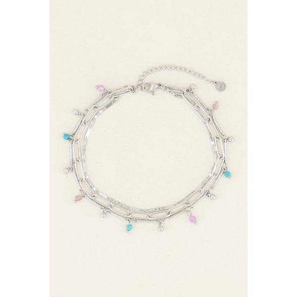 My Jewellery My Jewellery Driedubbel enkelbandje kralen en schakels