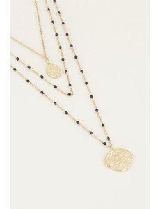 My Jewellery My Jewellery Driedubbele ketting muntjes en kraaltjes