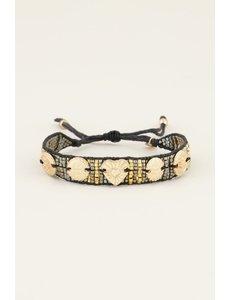 My Jewellery My Jewellery zwarte armband bedels & kraaltjes