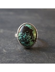 Happy Hippies Happy Hippies Ring hammered Turquoise zilver 17mm