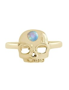 Happy Hippies Happy Hippies Ring Skull opaal goud