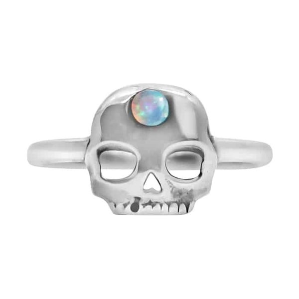 Happy Hippies Happy Hippies Ring Skull opaal sterling zilver