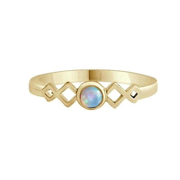 Happy Hippies Happy Hippies Ring Harmonica opal goud