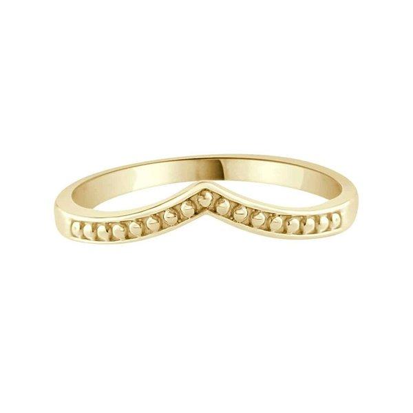 Happy Hippies Happy Hippies Ring beaded chevron goud