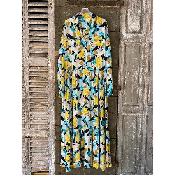 Banditas Banditas Lange jurk blauw en geel
