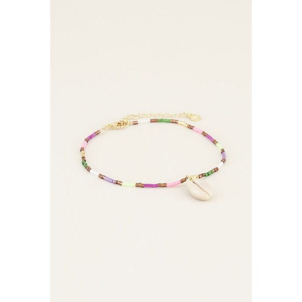 My Jewellery My Jewellery Enkelbandje multikleur kraaltjes & schelp