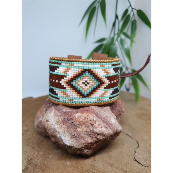 PerlasLindas Handgemaakte armband Turquoise Miyuki 21 met lederen rand
