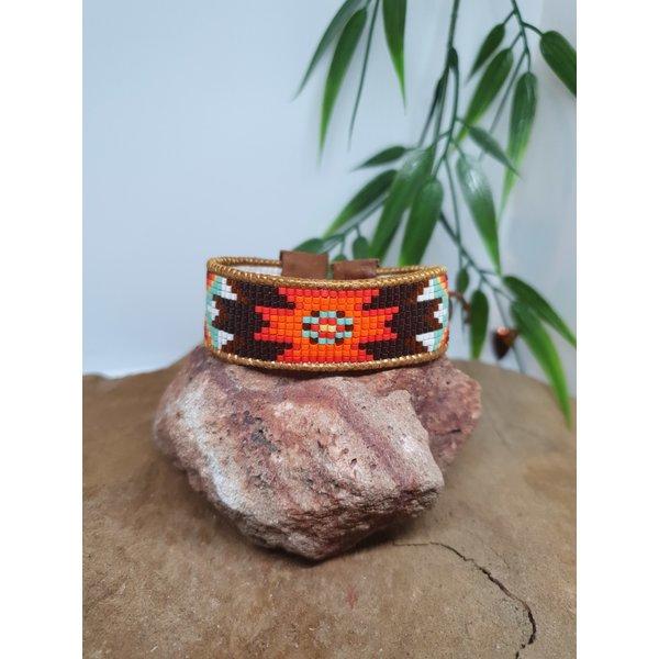 PerlasLindas Handgemaakte armband Navajo Miyuki 11 met lederen rand