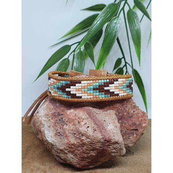 PerlasLindas Handgemaakte armband Turquoise Miyuki 7 met lederen rand