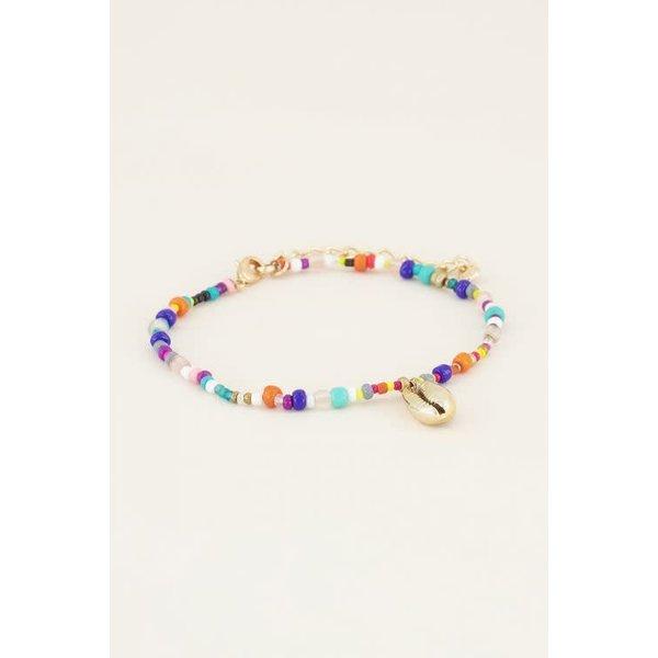 My Jewellery My Jewellery - Enkelbandje kralen & gouden schelp