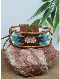 PerlasLindas Handgemaakte armband Turquoise Miyuki 11 met lederen rand