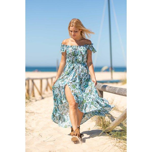 Tarifa Soul Tarifa Soul - Jurk Mina Flowers licht blauw