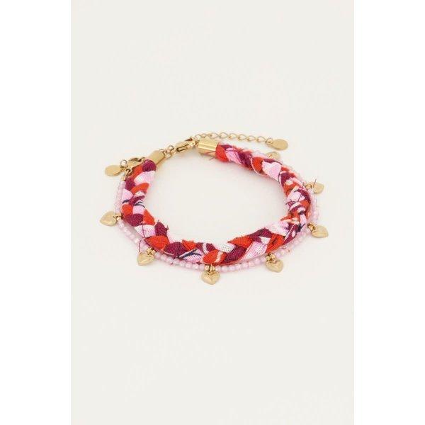 My Jewellery My Jewellery - Roze gevlochten armbanden set