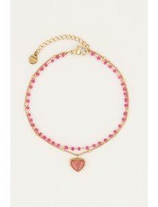 My Jewellery My Jewellery - Fuchsia kralenarmbandje met hartje