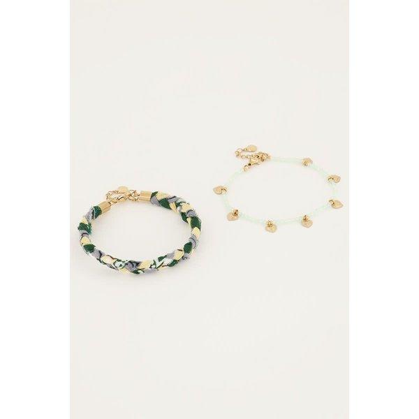My Jewellery My Jewellery - Mintgroene gevlochten armbanden set