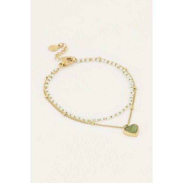 My Jewellery My Jewellery - Groen kralen armbandje met hartje