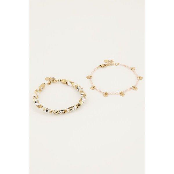 My Jewellery My Jewellery - Beige gevlochten armbanden set