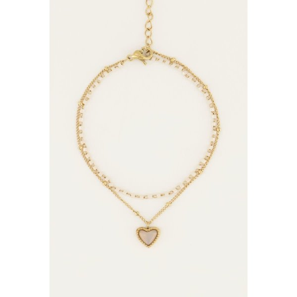 My Jewellery My Jewellery - Beige kralen armbandje met hartje