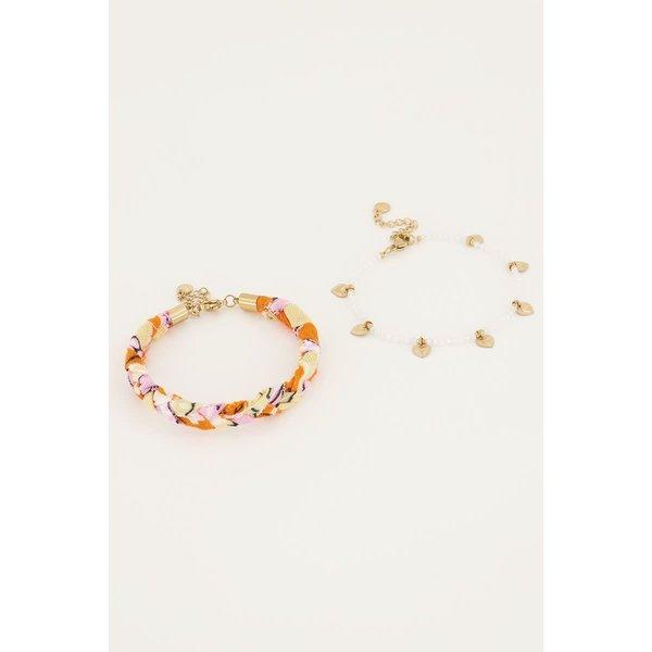 My Jewellery My Jewellery - Oranje gevlochten armbanden set