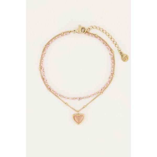 My Jewellery My Jewellery - Roze kralenarmbandje met hartje