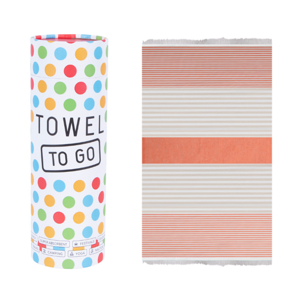 Towel to go Towel to Go Bali orange/beige met geschenk box